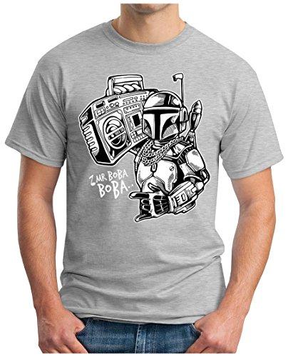 OM3 - MR-BOBA-BOBA - T-Shirt, S - 5XL Grau Meliert