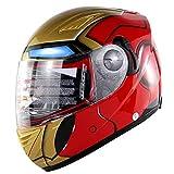 Einzigartiges und exquisites Aussehen Motorrad Helm Winter Persönlichkeit High-End-Motorrad-Helm Dual-Objektiv High-Definition-Nebelprävention Männer und Frauen allgemeinen Erwachsenen Helm,XXL