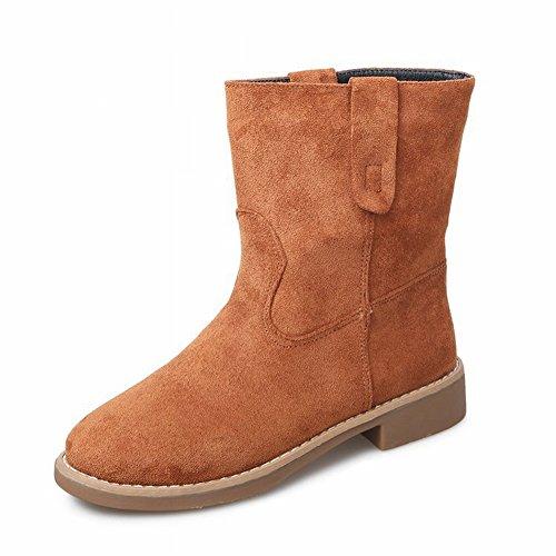 Damen Stiefel Flach mit Martin Stiefel Einzigen Frauenstiefel in Der Röhre Plus Kaschmir Stiefel Allgleiches Schuhe , Ingwer , EUR37 (Ingwer-schwarz Schuhe)