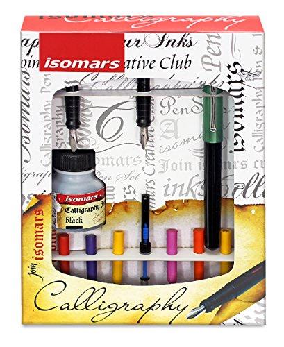 Preisvergleich Produktbild isomars Linkshänder Schönschreibfüller Geschenk-Set mit links Schnitt Schreibfedern