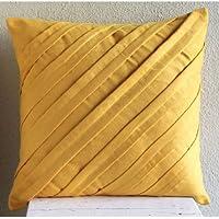 Senape Gialla Copertura Cuscini, Texture Nervature Tinta Unita Federe, 35x35