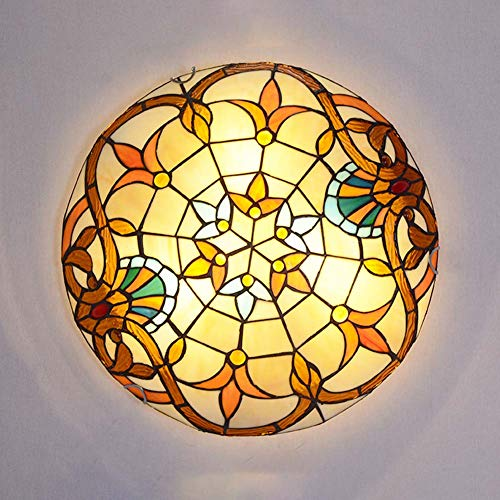 Tiffany-Stil Deckenlampe, Glasmalerei Deckenleuchten Flush Mount, Barock Dekoration Deckenbeleuchtung mit Runden Schatten für Schlafzimmer Wohnzimmer Flur,E27,110-240V,40cm -