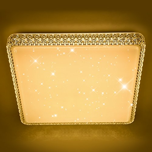 Vingo® 60W LED Deckenleuchte Kristall Starry Sky Starlight Square Decke Beleuchtung Wohnzimmer Decke Lampe Flur Schlafzimmer Belle Mordern Badezimmer leicht ac176V-242V 60w Blanc Chaud Carre