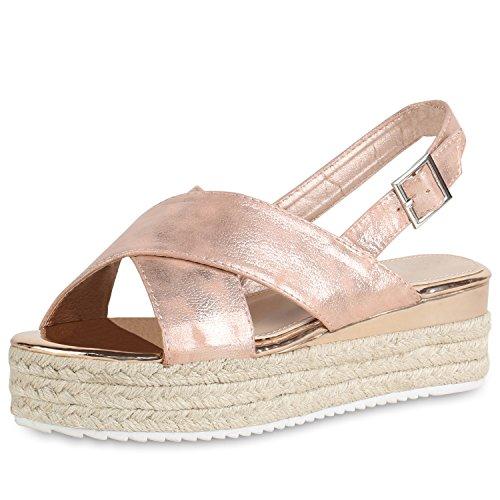 SCARPE VITA Damen Plateau Sandaletten Sommer Schuhe Lack Bast Plateauschuhe 161294 Rose Gold 41