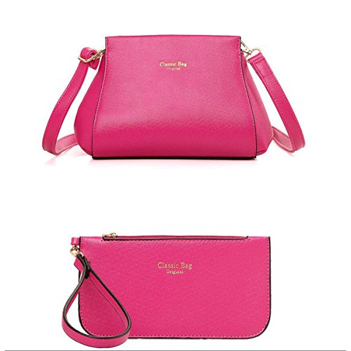 Damen Umhängetasche Handtasche Geldbörse Mode Kreuzmuster 3 Sätze Temperament Lässig Big Bag Red