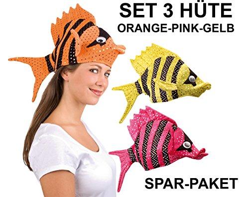 3er Set Lustige Fischmützen Tropen Fischhut orange pink gelb Fisch Hut Sparpreis