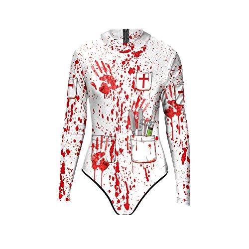 Halloween costume da bagno, donne sexy 3d halloween a maniche lunghe con stampa scheletro costume da bagno one piece bodysuit 80x74cm white + red