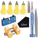 SIQUK Outil Ouvre Ouvrir Boitier Montre Outil Horloger Kit d'outils de remplacement de batterie de montre pour ouvreur et réparation de montres