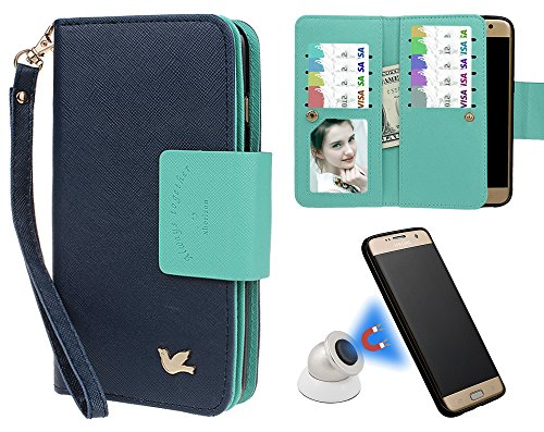 xhorizon MW8 Premium Leder Folio Case [Brieftasche] [Magnetisch Abnehmbar] Uhrarmband Geldbeutel Flip Mehrere Kartensteckplätze Vogel Hülle Tasche für Samsung Galaxy S7 Edge mit einer KFZ Halterung Marineblau mit einem Kugel KFZ Halterung