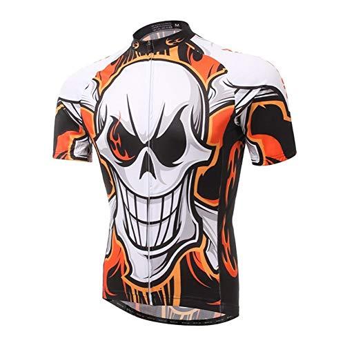 Qianliuk Männer Frauen UV Schutz Kurzarm Radtrikot, Cool Schädel Gedruckt Anti-Sweat Atmungsaktiv Anti-Pillin Radfahren Kleidung Moutain Bike Top Shirt -