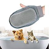 Guanto Spazzola Cani Gatti di Massagio Guanto Magico per Pet in Silicone Premium, Morbuy per Raccogliere i Peli e Togliere i Peli pettine (Grigio-1)
