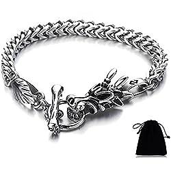 Para hombre motorista dragón de acero inoxidable Curb cadena pulsera Toggle cierre estilo gótico 8,5pulgadas para Navidad regalos