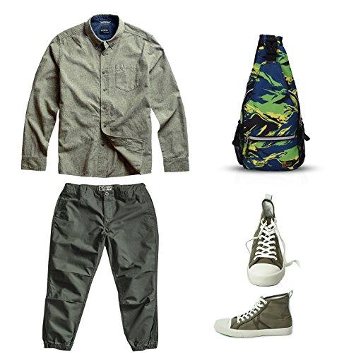 FANDARE Mode Sling Bag Umhängetasche Messenger Bag Hiking Bag Crossbody Bag Rucksack Polyester Braun Grün