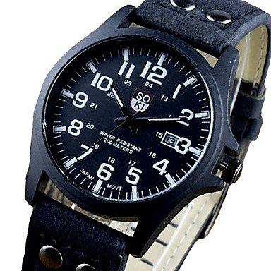 Fenkoo Mode soki Uhren Marke der Männer Sportuhren drei Leder analoge Quarz-Armbanduhren montres hommes (Männer Nike Sport-uhren Für)