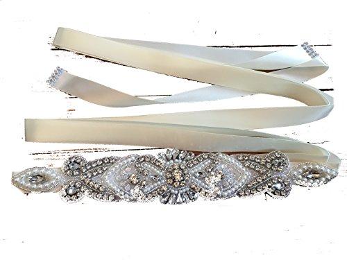 Brautgürtel, Strassgürtel, 270x2 cm, Satin, ivory, elfenbein, Vintage Gürtel zum Brautkleid,...