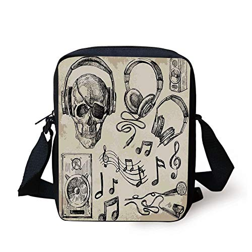 Music Decor,Sketchy Music Background Hipster Skull with Headphones Record Player Mic Speakers Print,Beige Black Print Kids Crossbody Messenger Bag Purse