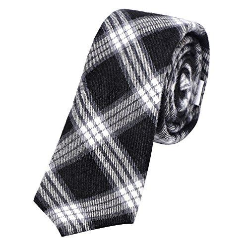 DonDon Herren Krawatte 6 cm Baumwolle schwarz-weiß-grau kariert