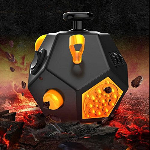 Stress Cube, Fidget Cube Relieves Stress And Anxiety for Children and Adults for Fidgeters - Black