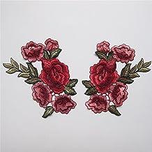 2pcs Rosa Flores bordado Applique insignia coser en parches decorativo decorativos de flores cuello encaje venise flores collar adornos sombrero bolsa ropa Busto vestido jeans transferencia boda bordado costura Craft DIY