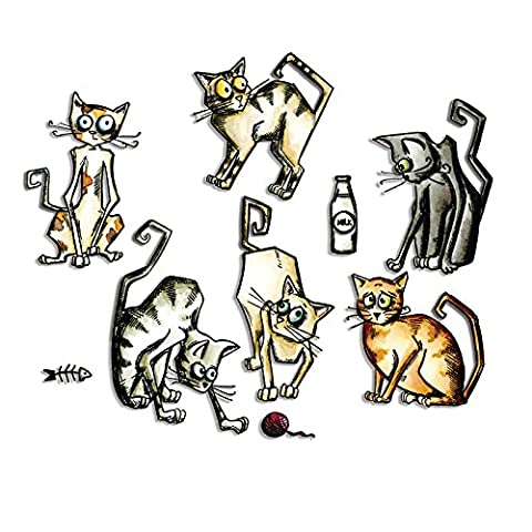 Sizzix 661209 Lot de 22 Framelits Dies Chats Amusants par Tim Holtz Métal Multicolore 19,10 x 14,4 x 0,4 cm