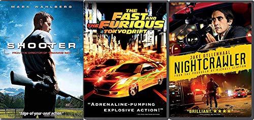 The Nocturnal Rider Shotta 3 Movie DVD Pack Nightcrawler Thriller / Shooter / Fast & Furious Tokyo Drift Action Bundle