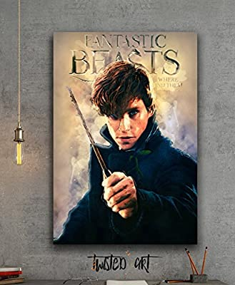 Newt Scamander Fantastic Beasts Movie Abstract Art - Canvas Print - Wall Art - Framed Canvas Art - Digital Painting