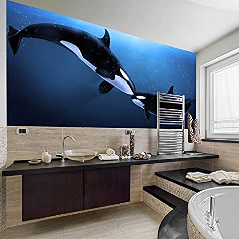 Killer Whale Wall Mural Under The Sea Animal Photo Wallpaper Bathroom Kids Decor available in 8 Sizes Medium Digital