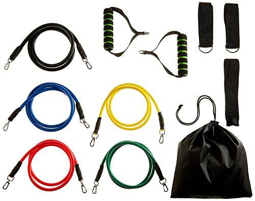 crayfomo 11 pcs Widerstandsbänder, Workout Übung Pilates Yoga Crossfit Fitness Bänder Gym Stretch Röhren mit 5 Bands, 2 Griffe, 2 Ankle Straps, Türanker, Tragetasche