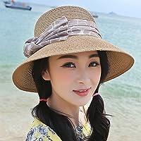 Sunbohljfjh Sonnenhut weiblicher Hut Hut des Sommers 2018 weiblicher Sommer hat großen Strohhutvisier-Sommerlichtschutz, der großen Randhut-Strandhut 57 * 58cm faltet
