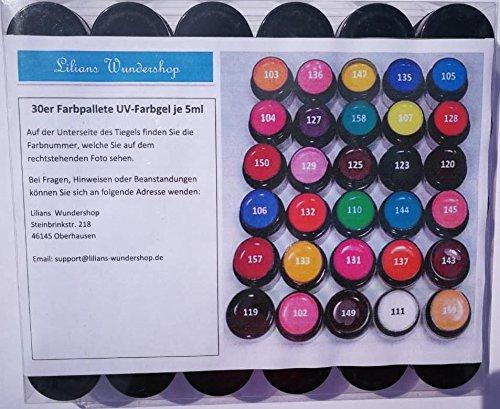 UV-Gel, PASTELLFARBEN, Farbgel, deckend! Satte Farben! UV Gel Set mit 30 x 5ml - 30 tolle Farben!