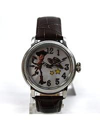 Disney Reloj mujer RELOJ automático Toy Story Woody correa de piel marrón Nácar coleccionistas Reloj