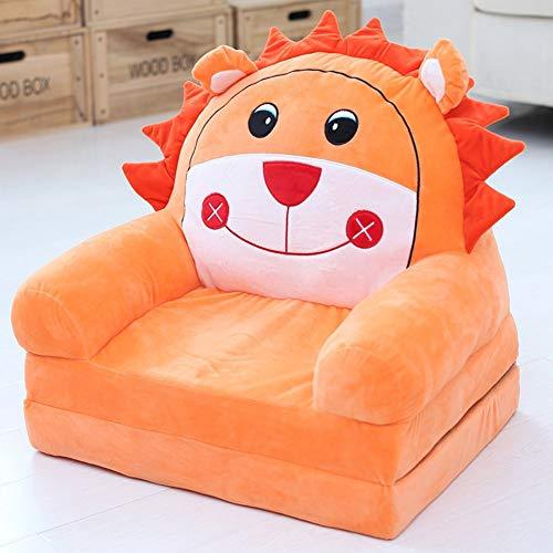 DW&HX Weichem plüsch Sessel für Kinder,Cartoon Folding Kinder Sessel Minisofa Mit reißverschluss -Apfelsine 50x40x47cm(20x16x19)