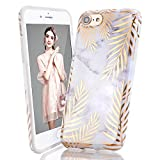 LUOLNH iPhone 5 Case,iPhone 5S SE Case, Gold leaves Marble Shockproof Clear Bumper TPU Soft Case Rubber Silicone Skin Cover Case for iPhone 5 5s SE