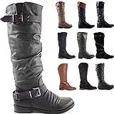 shoeFashionista Womens Black Wide Calf Leg Ladies Winter Biker Riding Style Flat Low Heel Knee High Boots Size