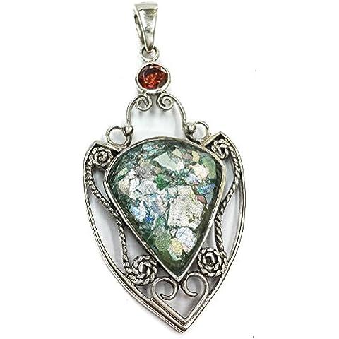 Tondo in vetro romano unico argento 925 pendente piccolo Terrasanta a mano 1