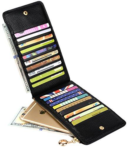 Yaluxe Damen Leder Multi Karte organizer Geldbörse mit Reißverschluss Tasche schwarz