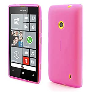 Abstrakt Pink Rubberized Soft Gel TPU Case Cover for Nokia Lumia 520