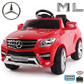 *2x MOTEURS* Original Mercedes-Benz ML 4MATIC Licence - Voiture / Véhicule électrique pour Enfant avec TÉLÉCOMMANDE Porteur Vélo (Rouge) …