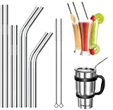 Metal Straws,HTLY SPR,Set of 8 for 30oz 20oz Tumblers Cups Mugs,Metal Drinking Straw with Cleaning Brush for 30 20 ounce Yeti,Cocktail and Hot Drinks. (Silver)