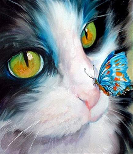 YEESAM ART Neuheiten Malen nach Zahlen Erwachsene Kinder, Nettes Kätzchen, Katze & Schmetterling 40x50 cm Leinen Segeltuch, DIY ölgemälde Weihnachten Geschenke