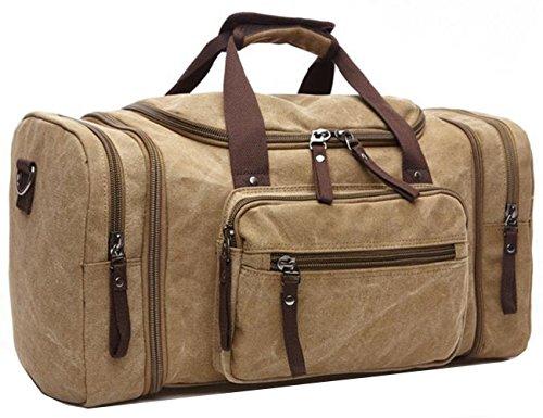 Limirror vintage Canvas Reisetasche Sporttasche weekender Tasche für Damen und Herren mit der Großen Kapazität (Khaki)