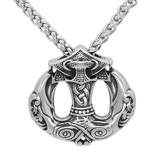 Raven Mann Kostüm - DADATU Halsketten für Herren Nordic Viking Odin Raven Thor Hammer Mjolnir Stainles Stahl Pendant Halskette