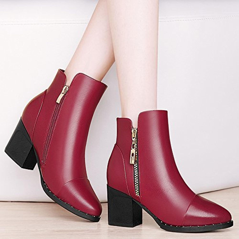 AJUNR-Zapatos De Mujer De Moda Un Áspero Y Botas Cortas Martin Botas Botas High-Heeled Femenino Y En El Otoño...