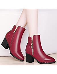 AJUNR-Zapatos De Mujer De Moda Un Áspero Y Botas Cortas Martin Botas Botas High-Heeled Femenino Y En El Otoño Y El Invierno En El Viento Durante La Primavera Y El Otoño Zapatos De Mujer Salvaje Rojo Vino 35