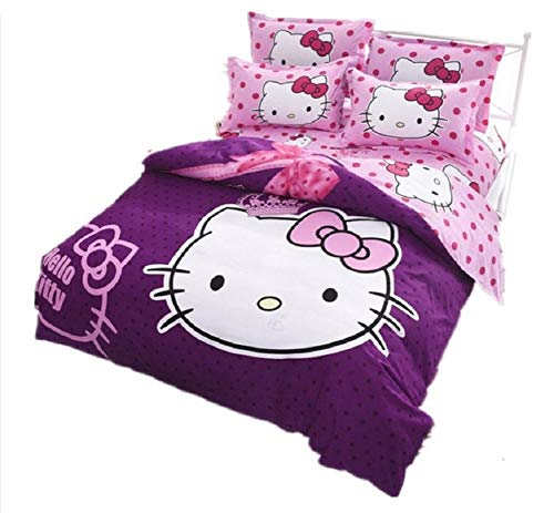 Giovanna Cartoon Hello Kitty Bettwäsche 90cm Bettbezug + Bettlaken + Wendekissenbezug 3-teilig umkehrbar