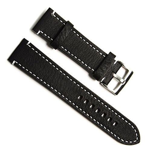 green-olive-19mm-handmade-vintage-cowhide-leather-watch-strap-watch-band-white-stitch-black