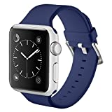 Naomo Apple Watch Cinturino 38mm,Morbido Braccialetto di Ricambio in Silicone per Apple Watch Series 3,Series 2,Series 1 (38mm, Blu navy)