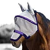 Harrison Howard Maskology finale Maschera anti-mosche per cavallo 85% UV Scudo di raffreddamento Argento/Viola (L; Full Size)