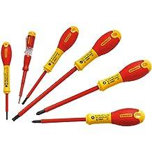 Stanley 0-65-443 - Pack con 6 piezas aislados, mango bimateria, color rojo y amarillo