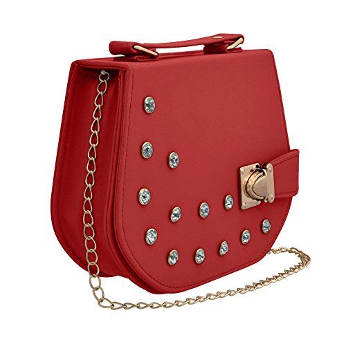 TAP FASHION Fancy Stylish PU Synthetic Women's Sling Bag with Adjustable Strap for Ladies and Girls (Strawberry Pink, WSB-4336-28-AB)